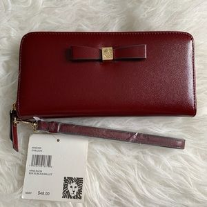 Anne Klein oxblood zip around wallet